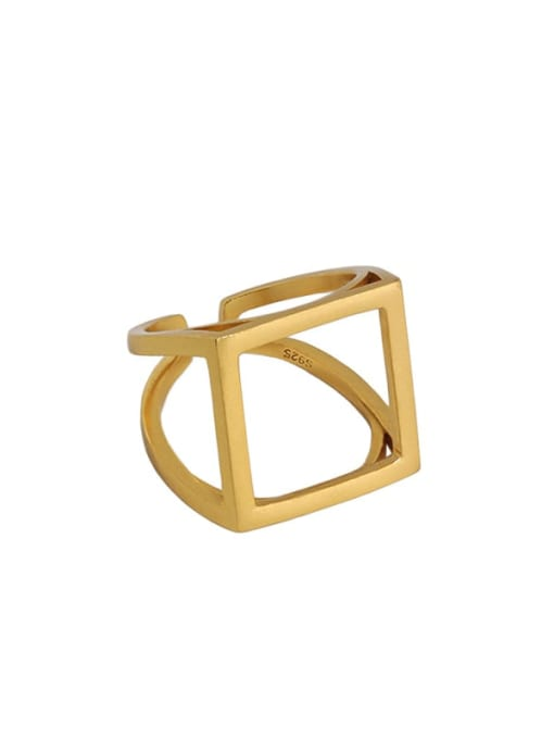 18K gold  [Size 15 Adjustable] 925 Sterling Silver Hollow Geometric Ethnic Band Ring
